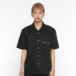 [DUCKDIVE] +82 RAINBOW LOGO HALF SHIRTS BLACK