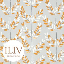 ILIV Scandi Sprig Fabric Tangerine 영국수입원단