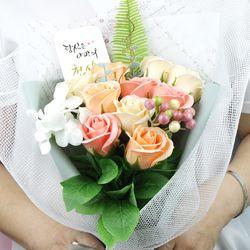 캘리그라피 비누로즈 10송이-로맨틱 살구(전구미포함)