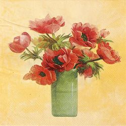 DIY용냅킨 붉은꽃화병(1390)