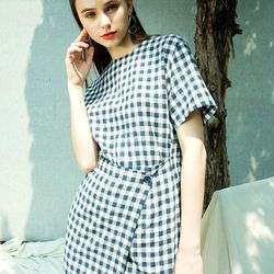 GINGHAM CHECK LAP DRESS BL