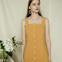 BUTTON LINEN DRESS YE