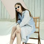 STRIPE LINEN LONG-SHIRT DRESS WH
