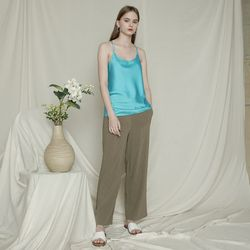 LINEN STRING STRAIGHT PANTS KH