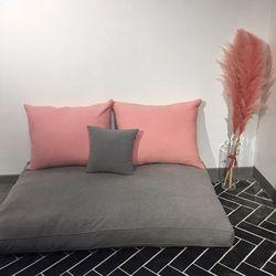 프렌치 자연염색 누빔 좌식쇼파-핑크2인용