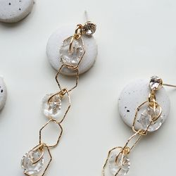 Three drop rock Crystal earring