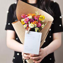 행복한 얼굴의 백일홍 꽃다발 (생화)