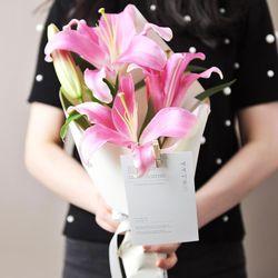 변함 없는 사랑 - 백합 꽃다발 (생화)
