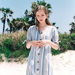 LINEN STRIPE BUTTON DART DRESS SKY BLUE