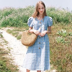 GINGHAM CHECK DRESS SKY BLUE