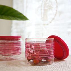 BORA 유리 컨테이너 핑크(400ml) : 유리 보관용기