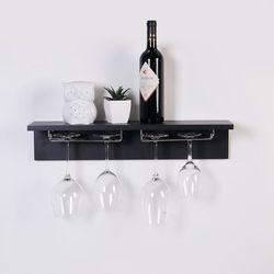 스칸-우드 와인잔 걸이  기억자 선반 600-블랙