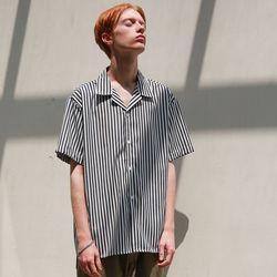 네로우 스트라이프 오픈카라 셔츠 (2color)