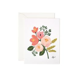Peony Pink Floral Greeting Card