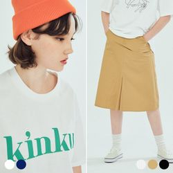(SET) 킨쿠 빅로고 티셔츠 에이롱 스커트 (5COLOR)