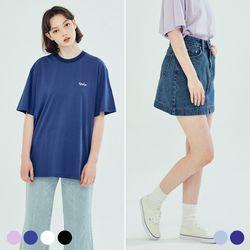 (SET) 킨쿠 베이직 자수 티셔츠 데님 스커트 (6COLOR)