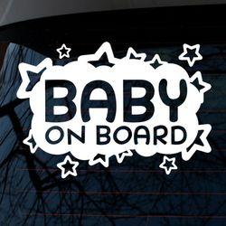 별구름 팡팡 아기가 타고 있어요(화이트)