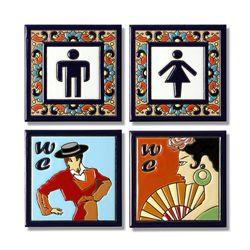 스페인 핸드프린트 화장실 타일 도어 사인 11x11 cm