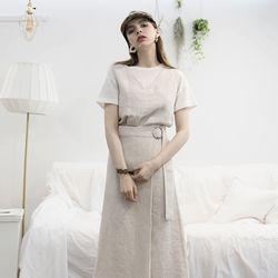 리넨 스커트 투피스 - [오트밀]