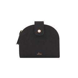 [6월신상] 진주 반달 중지갑 -블랙 CLAB18603SBL