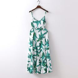 Big Leaf Sleeveless Long Dress