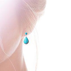 Moon & Teardrop 천연 터키석 Earrings (12월 탄생석)