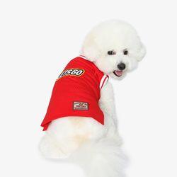 강아지 민소매 - 레드