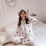 일러스트딸기 투피스 폴리 모자잠옷 상하세트