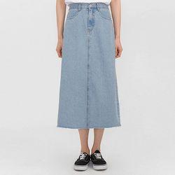 back slit midi denim skirt
