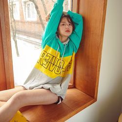 REVOLVE EMBROIDERED HOODIE aqua+yellow+grey