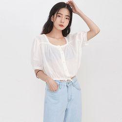 square neck crop blouse