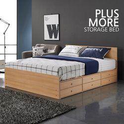 플러스모어 일반형 수납 더블 침대+본넬스프링