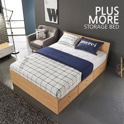 [플러스모어]일반형 수납 더블 침대+포켓 스프링