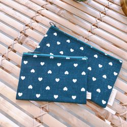 LITTLE HEART DENIM POUCH - DARK BLUE (Midium)