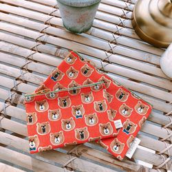 SCREAMING BEAR POUCH - ORANGE (Midium)