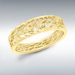 [런던골드 9ct Gold] Diamond Cut Leaves Ring