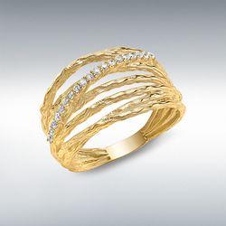 [런던골드 9ct Gold] CZ Crossover Diamond Cut Ring