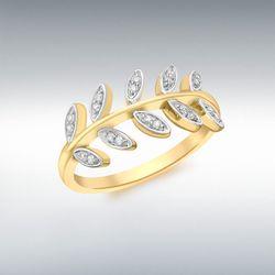[런던골드 9ct Gold] CZ Leaves Ring