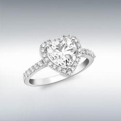 [런던골드 9ct Gold] White Gold Heart CZ Ring