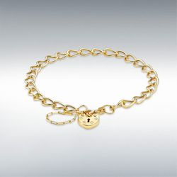 [런던골드 9ct Gold] Heart Padlock Bracelet 18cm