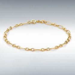 [런던골드 9ct Gold] Textured Figaro Bracelet