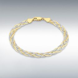 [런던골드 9ct Gold] 6 Plait Textured Bracelet