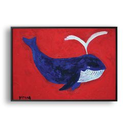 Blue Whale In Red Ocean