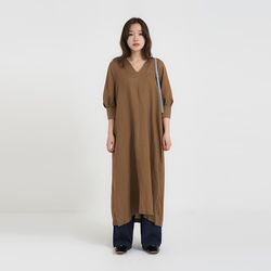 linen puff long one-piece (3colors)