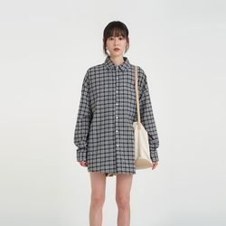 linen boxy check shirt (3colors)