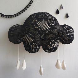 [핸드메이드] 뜨개느낌 구름 모빌 블랙