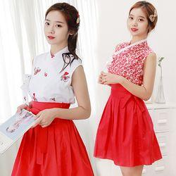 봄여름용 레드 생활한복 중간치마