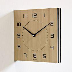 (kthx0444)저소음 우드 정사각 양면시계