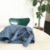 french blue plaid patterned easy bag (large)