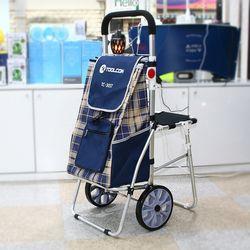 툴콘 접이식 스틸카트 장바구니(천가방+의자) TS-30ST